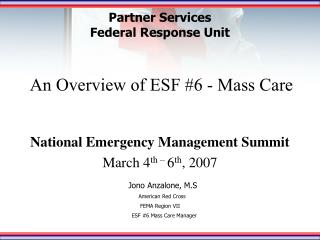 An Overview of ESF 6 - Mass Care