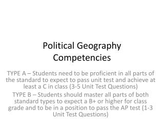 Political Geography Competencies