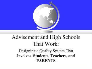 Advisement and High Schools That Work: