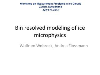 Bin  resolved modeling  of  ice microphysics