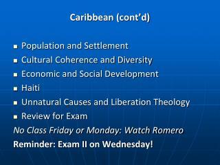 Caribbean (cont'd)