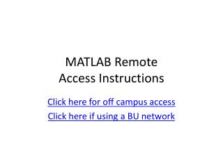MATLAB Remote  Access Instructions