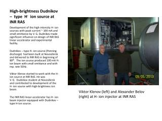 High-brightness  Dudnikov  –  type  H -   ion source at  INR RAS