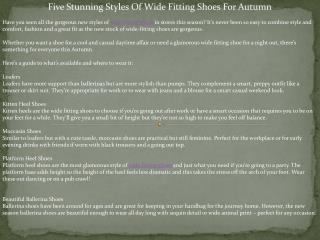 Five Stunning Styles Of Wide Fitting Shoes For Autumn