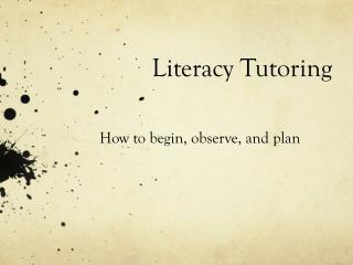 Literacy Tutoring