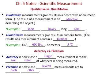 Ch. 5 Notes---Scientific Measurement