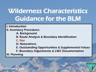 Wilderness Characteristics Guidance for the BLM