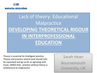 Sarah Hean  Bournemouth University, UK
