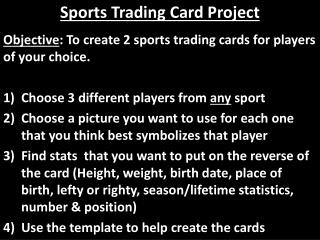 Sports Trading Card Project