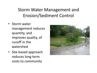 Storm Water Management and  Erosion/Sediment Control