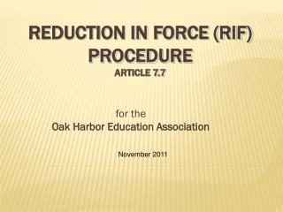 Reduction In Force (RIF)  Procedure Article 7.7