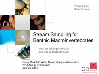 Stream Sampling for Benthic  Macroinvertebrates