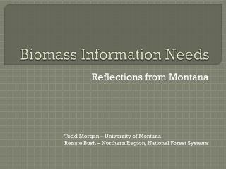 Biomass Information Needs
