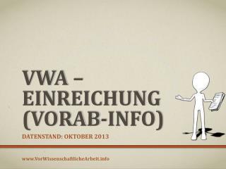 VWA � Einreichung (Vorab-Info)
