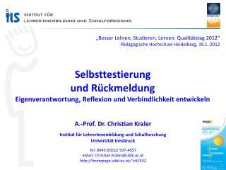 """""""Besser Lehren, Studieren, Lernen: Qualitätstag 2012"""""""