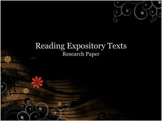 Reading  Expository Texts