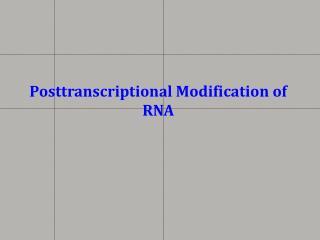 Posttranscriptional Modification of RNA