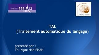 TAL (Traitement automatique du langage)
