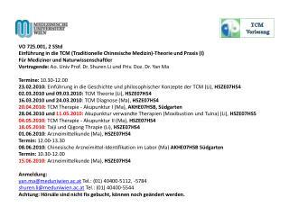 Einführung in die Traditionelle Chinesische Medizin -Theorie undPraxis (I)
