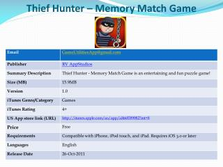 Thief Hunter – Memory Match Game