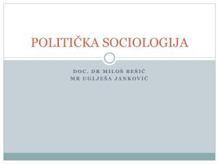 POLITI ČKA SOCIOLOGIJA