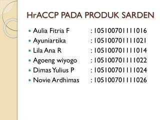 HrACCP  PADA PRODUK SARDEN
