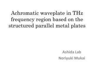 Achromatic  waveplate  in THz frequency region based on the structured parallel metal plates