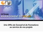 Une Offre de Conseil et de Formations au service de vos projets