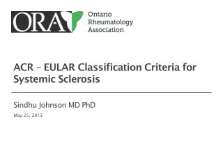 ACR – EULAR Classification Criteria for Systemic Sclerosis