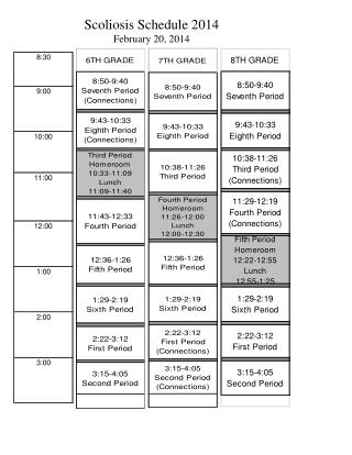 Scoliosis Schedule  2014 February  20, 2014