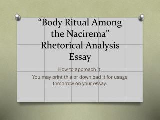 """Body Ritual Among the  Nacirema "" Rhetorical Analysis Essay"