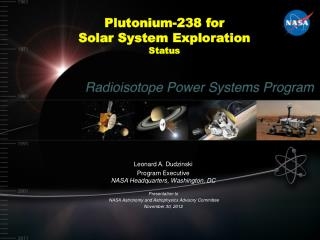 Plutonium-238 for  Solar System Exploration Status