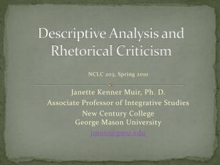 Descriptive  Analysis  and Rhetorical Criticism