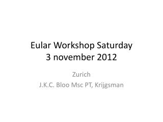 Eular  Workshop Saturday  3  november  2012