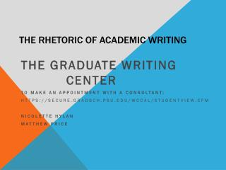 The Rhetoric of Academic Writing