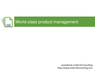 World-class product  management