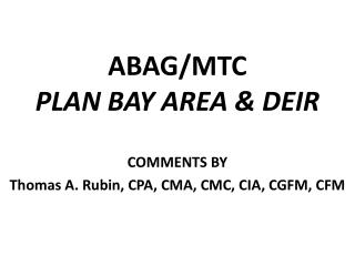 ABAG/MTC PLAN BAY AREA & DEIR