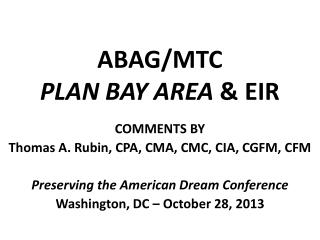 ABAG/MTC PLAN BAY AREA  & EIR