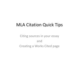MLA Citation Quick Tips
