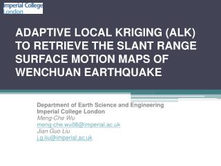 Department of Earth Science and Engineering Imperial College London Meng-Che  Wu