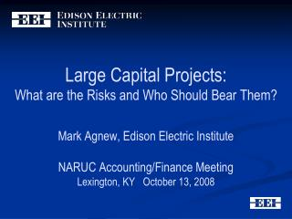 Large Capital Projects:  What are the Risks and Who Should Bear Them   Mark Agnew, Edison Electric Institute  NARUC Acco