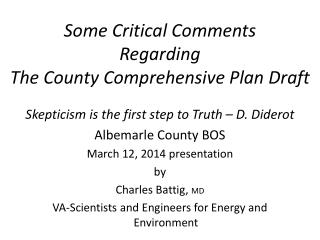 Some Critical Comments Regarding The County Comprehensive Plan Draft