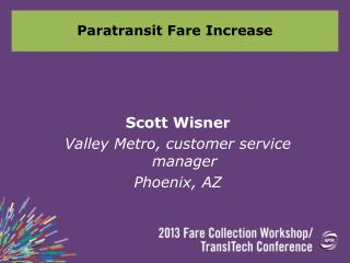 Paratransit Fare Increase