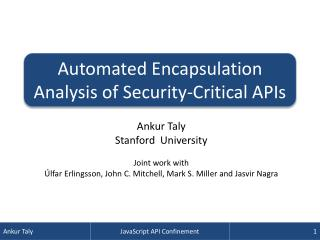 Ankur Taly Stanford  University Joint work with