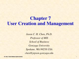 Chapter 7 User Creation and Management