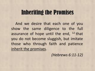 Inheriting the Promises