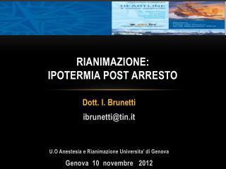 RIANIMAZIONE: IPOTERMIA POST ARRESTO