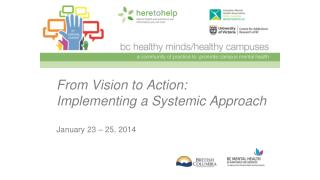 From Vision to Action: Implementing a Systemic Approach January 23 – 25, 2014