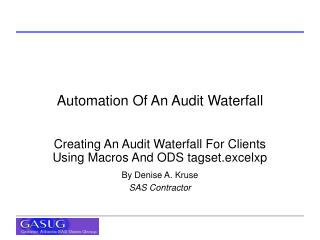 Automation Of An Audit Waterfall