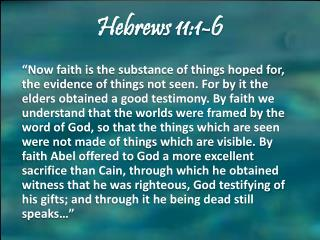 Hebrews 11:1-6